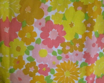Vintage Pink and Yellow Floral Twin Flat Sheet 1960s