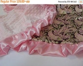 ON SALE Pink Paisley Satin and Minky Baby Blanket