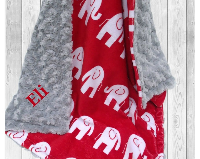 Red and Gray Rose Swirl Elephant Minky Baby Blanket,  3 sizesCan Be Personalized