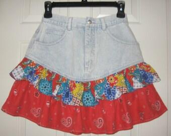 Acid Wash 80s Mini Skirt Ruffles size 13 NUOVO