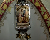 Lady Liberty - Soldered Glass Assemblage Necklace With 1942 Liberty Dime