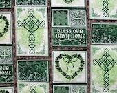 Bless Our Irish Home Celtic Fabric Celtic Knot Fabric St Patricks Day Fabric Holiday Fabric Shamrock Fabric Hearts Cross 2 Yards