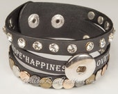 Love, Happiness Snap Button Leather  Bracelet Brown Noosa Bracelet, Leather Cuff