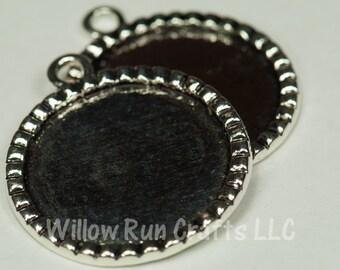 10 pcs 1 Inch  Circle Pendant Trays Bottle Cap Stlye, Antique Silver Plated, 25mm Circle Bezel  (19-16-500), Blank Bezel Cabochon Setting