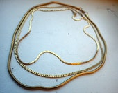 Trio of Gold Fashion Necklaces - 1980s - Vintage - Chain - Gold Plated/Filled