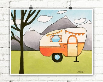 RV Print, RV Trailer Camper Art Print, Orange Camper Trailer, Travel Trailer Decor, Vintage Camper Decor, Nursery Decor