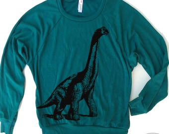 Womens DINOSAUR Tri-Blend Pullover - american apparel S M L (6 Color Options)