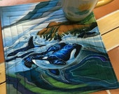 Ocean Wildlife by Robert Kaufman - Mug Rug or Candle Mat  Oversized Coaster