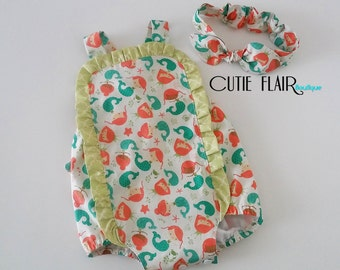 Baby Sunsuit and Matching Knot Headwrap, Mermaid Sunsuit, Cake Smash Outfit, Mermaid 1st Birthday, Nautical Romper, Size 6-12M Ready To Ship