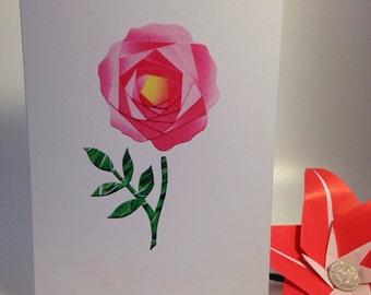 Iris folded scene greeting card (printed) - simple rose