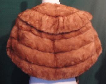SALE!!!  Vintage Light Brown Mink Stole Fur Gathered Collar Lined Soft
