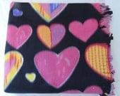 Fleece Blanket - Pink Colorful Hearts