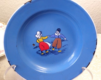 vintage blue enamel plate with dutch children,made in Germany