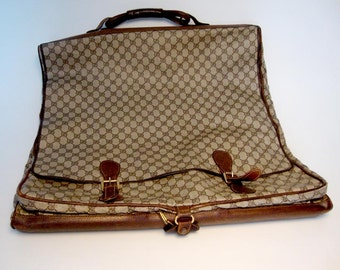 Vintage 1970's Gucci Monogram Garment Bag in good vintage condition:  Use as a Carry On and Travel in style!