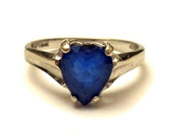 14k Gold Heart Ring, Vintage Gold Ring, 1970s Heart Gemstone Ring, Blue Topaz Ring, Fine Jewelry, Heart Topaz & White Gold Engagement Ring