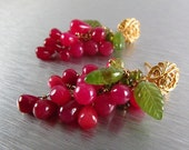 25% Off Summer Sale Smooth Ruby Drops With Carved Vesuvianite Post Earrings