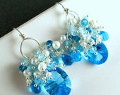 BIGGEST SALE EVER Swiss Blue Quartz and Pearl Cluster Earrings