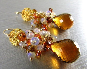 End Of Summer Sale Madeira Citrine With Ethiopian Opal, Tourmaline and Crystal Gold Filled Cluster Earrings