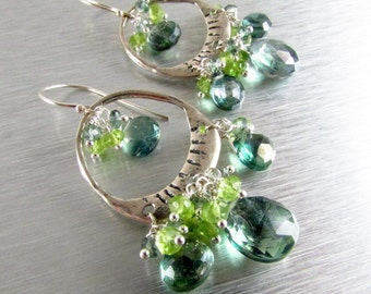 Boho Style Mystic Green Quartz and Peridot Sterling Silver Artisan Chandelier Cluster Earrings