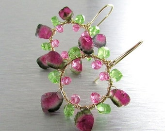 BIGGEST SALE EVER Watermelon Tourmaline with Peridot and Pink Quartz Hoop Earrings