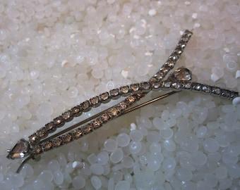 vintage barrette Hair clip beautiful pronged rhinestone