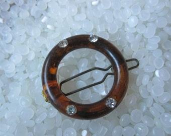 vintage barrette , faux tortoiseshell circle with rhinestones