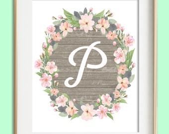 Letter P Printable, Instant Download, Baby Girl Nursery Wall Art, Girl Nursery Decor, Floral Monogram, Pink Mint Gray Letter Art, Baby Gift