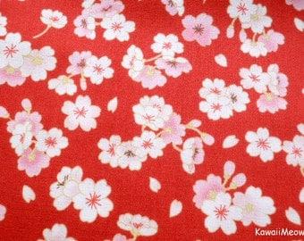 Japanese Kimono Fabric - Sakura on Red - Half Yard (ki151221)