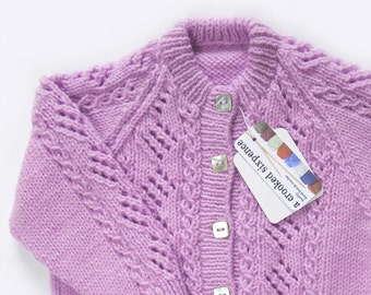 Lilac Cardigan. Hand Knit Cardigan. Hand Knit Sweater. Hand Knit Childrenswear.