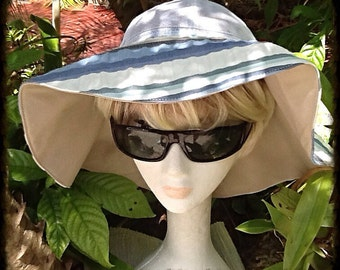 Blue Beige and Cream Sun Hat with Cool Mesh Crown