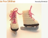 50% OFF SALE Ivory Ice Skates Crochet Baby Booties 0-6 Months