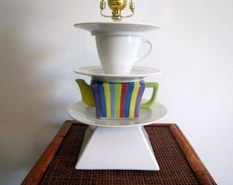 Vintage Teapot Lamp, Multi Colored Striped Teapot, One of a Kind Lamp