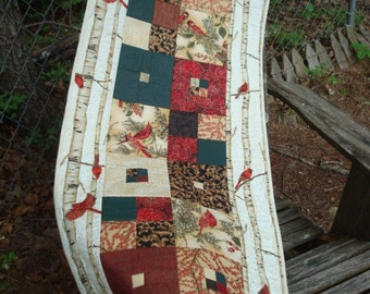 Tan and Gold Winter Cardinal Quilted Table Runner