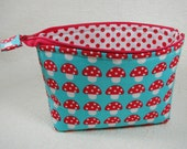 Open Wide Flat Bottom Zipper Pouch... Mushrooms in Red and Aqua