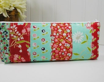 Vintage Picnic Red and Aqua Long Zipper Pouch, Floral Long Zipper Pouch, Scrappy Pencil Pouch
