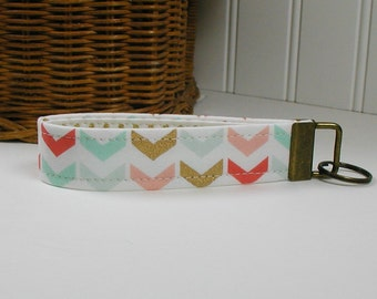 Key Fob Wristlet, Keychain, Fabric Key Fob ..Broken Chevron in Coral Mint and Gold