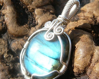 Blue Labradorite and Sterling Silver Wire Wrapped Pendant ~ Natural Stone Jewelry, Healing Stone, Handcrafted, Mystical, Faerie, Meditation