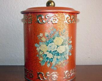 Vintage Pumpkin Orange Floral Tin Canister - Made in Western Germany