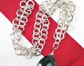 50% OFF SALE Green Quartz Necklace, Large Green Stone Choker, Minimalist Jewelry, Statement Jewelry, Chain Necklace