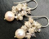 CUPID SALE xOx Wedding Earrings, Ivory Pearl Cluster Earrings, Sterling Silver Wire Wrap, Keishi Pearl Cluster White Topaz, White Earrings