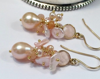 Peach Pearl Earrings, Wire Wrapped Cluster Earrings 14kt Gold Fill Pink Chalcedony Peach Moonstone Peach Ethiopian Opal Blush Keishi Pearl