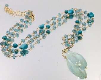 Aqua Necklace Boho Rosary Chain Turquoise Apatite Aquamarine Gemstone Pendant Wire Wrap Gold Fill Bohemian Chic Jewelry Layering Necklace