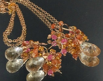 Rose Gold Necklace Earrings Set Rutilated Quartz Jewelry Set Wire Wrap Gems Mandarin Garnet Madiera Citrine Pink Gem Cluster