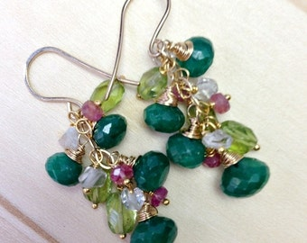 BLACK FRIDAY SALE Peridot and Emerald Earrings Wire Wrapped 14kt Gold Fill Herkimer Diamond Cut Quartz, Pink Sapphire, September  Birthstone