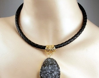 50% OFF SALE Druzy Slice Necklace Raw Crystal Black Choker Bold Leather Statement Bohemian Necklace Black Crystal Necklace