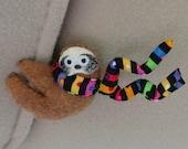 Sloth Car Visor cling on - plush felt stuffed animal  with bendable legs and rainbow scarf - felt rain forest animal