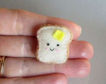 Toast and butter miniature felt stuffed animal plush play food people