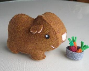 Guinea Pig stuffed animal plush felt toy with food bowl play set