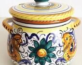 Vintage Deruta Raffaellesco Dragons, Dipinto a mano, Small Covered Condiment Jar, Honey Pot, Jelly Bowl, Italian Pottery