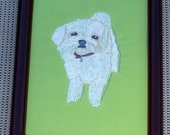 Maltese Dog Portrait, Hand Embroidered
